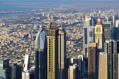 Вид с воздуха небоскребов всемирного торгового центра Дубай Стоковые Фото