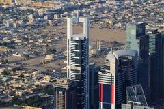 Вид с воздуха небоскребов всемирного торгового центра Дубай Стоковая Фотография RF