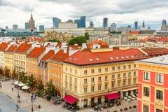 Вид с воздуха небоскребов и городка Варшавы старого Стоковые Изображения