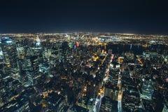 Вид с воздуха ночи Нью-Йорка Стоковое Изображение RF