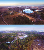 Вид с воздуха озера и домов Стоковое фото RF