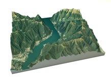 Вид с воздуха озера Como, Laglio и окружающих територий составляет карту в 3d Стоковые Фотографии RF