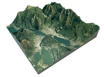 Вид с воздуха озера Lecco и surroundi Стоковые Фото