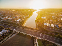 Вид с воздуха озер Patterson и шоссе Nepean стоковые фото