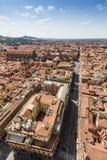 Вид с воздуха от башни Asinelli в болонья, Италии Стоковая Фотография
