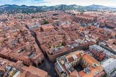 Вид с воздуха от башни Asinelli в болонья, Италии Стоковое Изображение RF