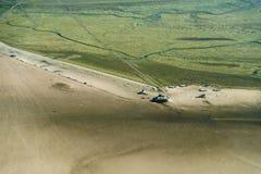 Вид с воздуха от национального парка моря Шлезвиг-Гольштейна Wadden стоковая фотография rf