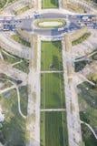 Вид с воздуха от Эйфелева башни на Чемпионе de Марсе - Париже. Стоковая Фотография RF