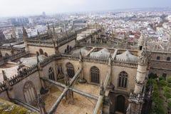 Вид с воздуха от Giralda собора Севильи, Испании стоковая фотография rf