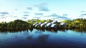 Вид с воздуха панелей солнечных батарей Природа Wonderfull Будущее Реалистическая анимация 4K иллюстрация штока