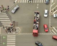 Вид с воздуха пешеходного перехода на улице Стоковое Изображение RF