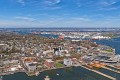 Вид с воздуха порта Ньюарка в Байонне стоковая фотография