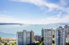 Вид с воздуха портового района на английском заливе в Ванкувере, Британской Колумбии Стоковые Изображения