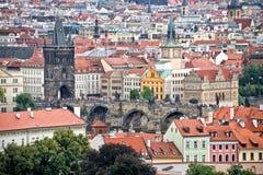 Вид с воздуха Праги и моста St Charles Стоковые Фотографии RF