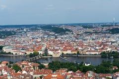 Вид с воздуха Праги от башни Petrin Стоковое Изображение