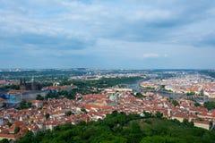 Вид с воздуха Праги от башни Petrin Стоковое Фото