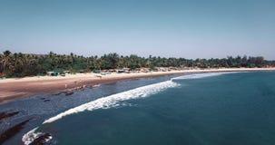 Вид с воздуха пляжа в Mandrem Goa, Индии видеоматериал