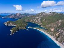 Вид с воздуха пляжа Oludeniz, Fethiye, Турции Стоковые Фотографии RF