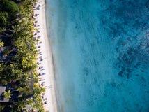 Вид с воздуха: Пляж Trou вспомогательный Biches Стоковая Фотография RF