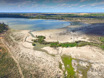 Вид с воздуха реки Мюррея заболоченных мест засухи трогнутого Стоковое Фото