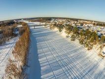 Вид с воздуха реки Mologa около деревни Fabrika Стоковая Фотография