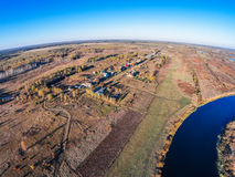 Вид с воздуха реки Mologa около деревни Kuznetsy Стоковое Изображение RF