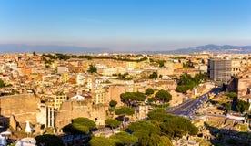 Вид с воздуха Рима с Colosseum стоковое фото rf