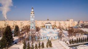 Вид с воздуха рождества церков благословил девственницу Россию Уфу 17-ое февраля 2017 Стоковые Изображения