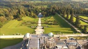 вид с воздуха садовничает powerscourt Wicklow Ирландия сток-видео
