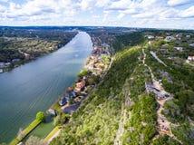 Вид с воздуха сверху Остин Техас лета Bonnell держателя стоковые фотографии rf
