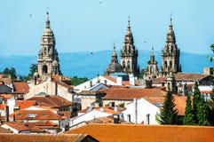 Вид с воздуха собора Santiago de Compostela Стоковое Фото