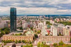 Вид с воздуха современного города в Варшаве, Польше Стоковая Фотография RF