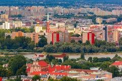 Вид с воздуха современного и старого городка, Варшавы, Польши Стоковая Фотография RF