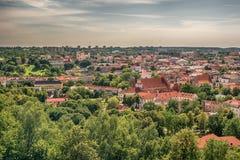 Вид с воздуха старого городка в Вильнюсе, столице Литвы Стоковые Фотографии RF