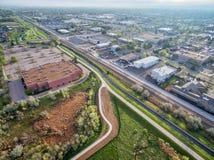 Вид с воздуха следов велосипеда в Fort Collins Стоковое Изображение