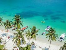 Вид с воздуха тропической лагуны, парк Angthong морской, Таиланд Стоковое Изображение RF
