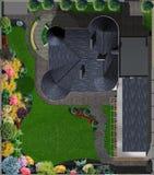 Вид с воздуха усадьбы, иллюстрация 3d Стоковая Фотография