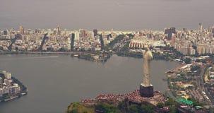 Вид с воздуха Христоса платформа статуи спасителя сток-видео