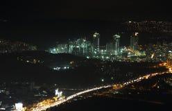 Вид с воздуха центра города и небоскребов города от сапфира Стамбула, Турции Стоковое Изображение RF