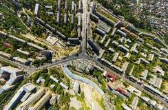 Вид с воздуха центра города Перекрестки, дома стоковое изображение rf
