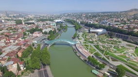 Вид с воздуха центра Тбилиси сток-видео