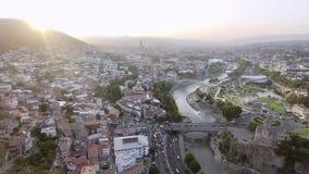 Вид с воздуха центра Тбилиси, Georgia сток-видео