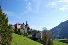 Вид с воздуха швейцарской деревни страны. Стоковые Изображения RF