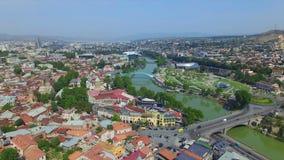 Вид с воздуха downlown Тбилиси акции видеоматериалы