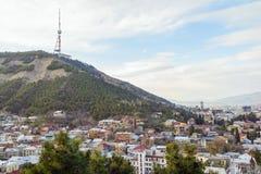 Вид с воздуха Georgia центра города Тбилиси Стоковое фото RF