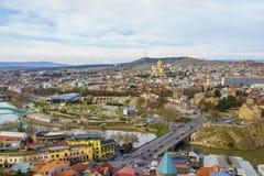 Вид с воздуха Georgia центра города Тбилиси Стоковое Изображение