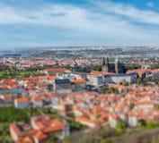 Вид с воздуха Hradchany, собора St Vitus Стоковая Фотография
