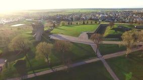 Вид с воздуха IX музея форта в Каунасе акции видеоматериалы