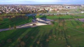 Вид с воздуха IX музея форта в Каунасе сток-видео
