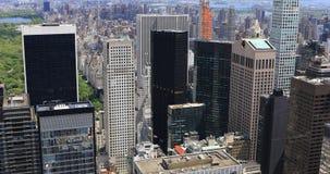 вид с воздуха 4K UltraHD горизонта Манхаттана центра города сток-видео